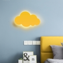 Blue/Yellow Cloud Wall Sconce Modern Fashion Plastic LED Wall Mount Light for Boys Girls Bedroom