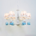 White Finish Cone Hanging Lamp with Owl Design Fabric Shade 3/5 Lights Suspension Light for Kids