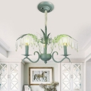 Candle Style Suspension Light with Crystal Decoration Vintage Triple Heads Chandelier Lamp in Green