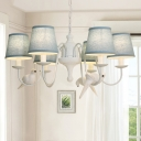 White Finish Curved Arm Chandelier Light with Tapered Fabric Shade Lodge Style 6 Lights Hanging Light