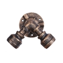 2 Heads Water Pipe Downlight Retro Style Metallic Small Wall Mount Light in Antique Bronze