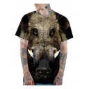 Khaki 3D Animal Bull Print Basic Crewneck Short Sleeve Loose Fit T-Shirt