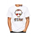Unique Colorful Painting Figure American Comic Book Writer Pattern White T-Shirt