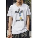 Retro Letter DARK Comic Character Print White Short Sleeve Casual T-Shirt