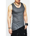 Men's Summer Plain Stylish Slant Cut Bottom Sleeveless Bodybuilding Fitness Tank Top