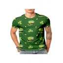Stylish Green 3D Leaf Hat Printed Short Sleeve Round Neck T-Shirt for Guys