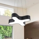 Crossroads Line LED Drop Light Black Finish Simple White Light Acrylic Hanging Lamp for Home