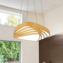 Wood Finish Triangle Ceiling Light Simple Style 18/22in Wide Acrylic Hanging Pendant Light for Home