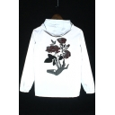 Floral Embroidered Long Sleeve Zip Reflective Unisex Gray Drawstring Hooded Coat