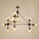 Amber Glass Hanging Lamp Designers Style Post Modern Metal 10 Light Chandelier for Bedroom