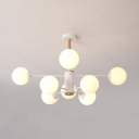 Stylish Modo Chandelier Frosted Glass 8 Light Accent Hanging Light for Exhibition Hall
