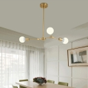 3 Light Open Bulb Chandelier Light Simple Contemporary Adjustable Ceiling Light in Brass