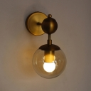 Ball Wall Light Industrial Retro Style Clear Glass Art Deco Wall Sconce for Staircase