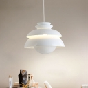 White Ball Shade Hanging Light Aluminum Slick Polished Drop Light for Coffee Shop