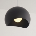 Concise Modern Half Globe Drop Light Metal Suspension Light in Matte Black for Living Room