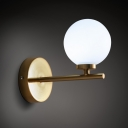 Opal Glass Ball Shade Wall Light Simple Modern Wall Sconce for Balcony Hallway Bedside