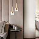 Brass Finish Cylinder Hanging Lamp Acrylic Shade LED Pendant Light in Post Modern Style