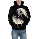 Fashion 3D Planet Bird Printed Long Sleeve Relaxed Casual Unisex Black Hoodie