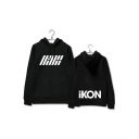 Fashion Logo Front Letter ICON Pattern Long Sleeve Pullover Leisure Hoodie with Kangaroo Pocket