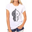 Crewneck Short Sleeve Cartoon Figure Printed White Stylish Tee for Women