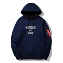 Chic Letter HANDLE WITH CARE Pattern Long Sleeve Casual Leisure Pullover Hoodie