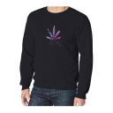 Trendy Letter BLOOD MESSAGE Five-Leaf Printed Long Sleeve Crew Neck Regular Fitted Sweatshirt