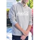 Men's Fashion Sports Letter ENJOY COKE Logo Print Long Sleeve Kangaroo Pocket Loose Hoodie