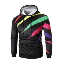 Men's Colorful Striped Print Long Sleeve Slim Fitted Light Drawstring Hoodie