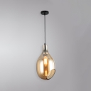 Single Head Bottle Pendant Lamp Modern Design Blue/Cognac Glass Drop Light for Hallway