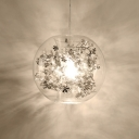Silver Flower Decoration Hanging Lamp with Inner Glass Shade Modernism 1 Bulb Pendant Light