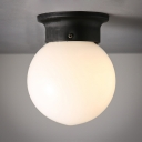 White Glass Spherical Mount Fixture Modern Simplicity Single Light Flush Light Fixtures in Black