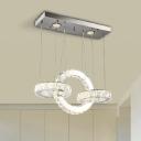 Crystal Vertical Ring Chandelier Modern Fashion LED Suspended Light in Chrome for Living Room