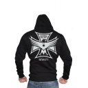 Men's Trendy Outdoor Bodybuilding Sports Letter LOYALTY Eagle Printed Fitted Hoodie