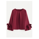 Fashion Bow-Tied Cuff Long Sleeve Round Neck Simple Plain Loose Chiffon Burgundy Blouse