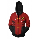 Teenagers Comic Cosplay Fashion Letter R Logo Chest Colorblock Red Hoodie