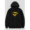 Men's Cool Comic Logo Printed Long Sleeve Loose Fitted Pullover Cotton Hoodie