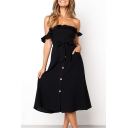 Chic Ruffle Hem Off The Shoulder Bow-Tied Waist Button Front Plain Midi A-Line Dress