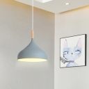 Gray Teardrop Pendant Light Modern Design Wood 1 Head Suspended Light for Living Room