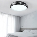 Round Flush Light Fixtures Contemporary Acrylic LED Ceiling Light in Black for Living Room