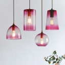 Faded Glass Geometric Suspension Light Modern Design Single Head Drop Light in Pink
