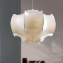 1 Light Lantern Pendant Light Contemporary Fabric Decorative Hanging Lamp in White