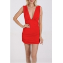 Women's Sexy Plunge V-Neck Sleeveless Simple Plain Ruched Mini Bodycon Dress