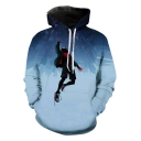 Men's Cool Cosplay Fashion 3D Spider Man Print Blue Loose Hoodie