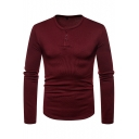 Men's Basic Plain Long Sleeve Round Neck Warm Thick Fitted Henley Shirt