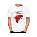 Cool Wolf Head Letter THE NORTH REMEMBERS Print Basic White T-Shirt