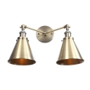 2 Lights Armed Wall Lamp with Horn Shade Retro Style Metallic Decorative Sconce Lighting in Bronze