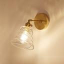 Swirl Glass Bell Wall Lighting Vintage Single Light Wall Lamp in Brass Finish for Hallway