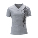 Cool Letter Graffiti Print V-Neck Short Sleeve Men's Fitted T-Shirt