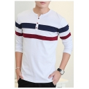Fashion Colorblock Striped Print Round Neck Long Sleeve Button Front Casual Fitted T-Shirt