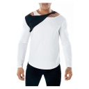 Trendy Patched Fake Two-Piece V-Neck Long Sleeve Plain Slim Fitted T-Shirt for Men